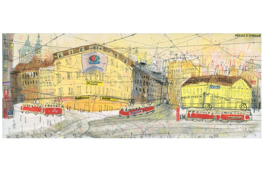 'illy tram Prague'  Giclee print Image size 19 x 47 cm Edition size 195   £145