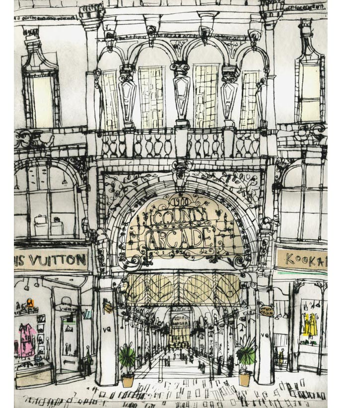 'County Arcade Victoria Quarter'  Giclee print 30 x 39 cm Edition size 195 £145