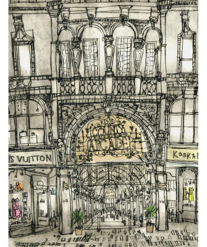 'County Arcade Leeds'  Giclee print Image size 30 x 39 cm Edition size 195 £145