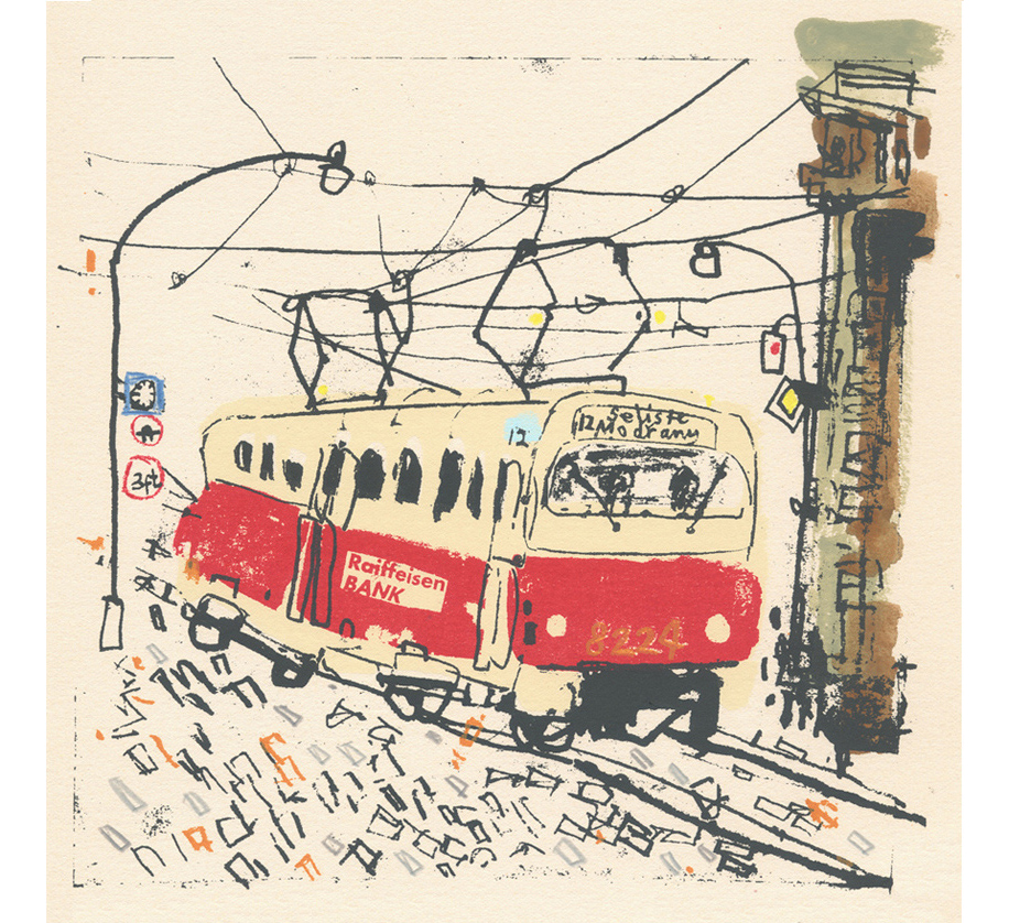 'Prague Tram'  handpainted watercolour, pencil &screenprint 30 x 30 cm Edition size 100