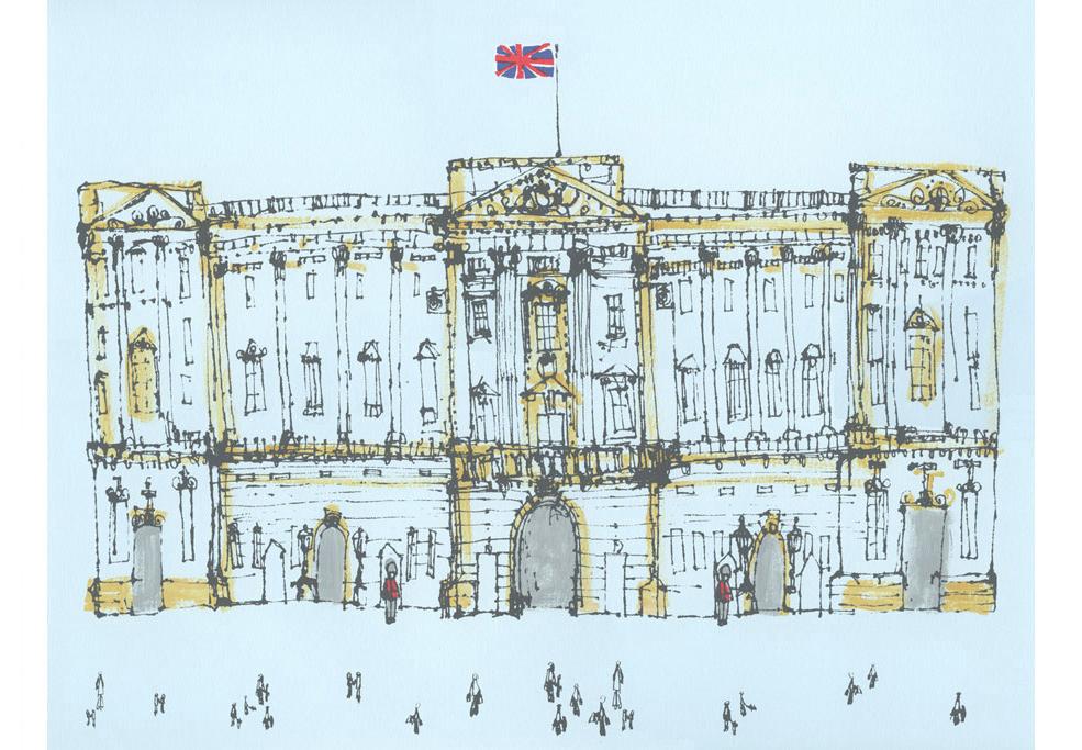 Buckingham Palace London  handpainted acrylic & screenprint 46 x 37 cm Edition size 150 £195
