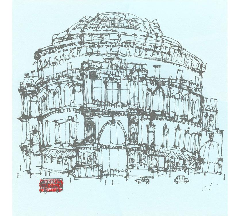 'Royal Albert Hall & London Red Bus  handpainted acrylic & screenprint 33 x 33 cm Edition size 150 £195