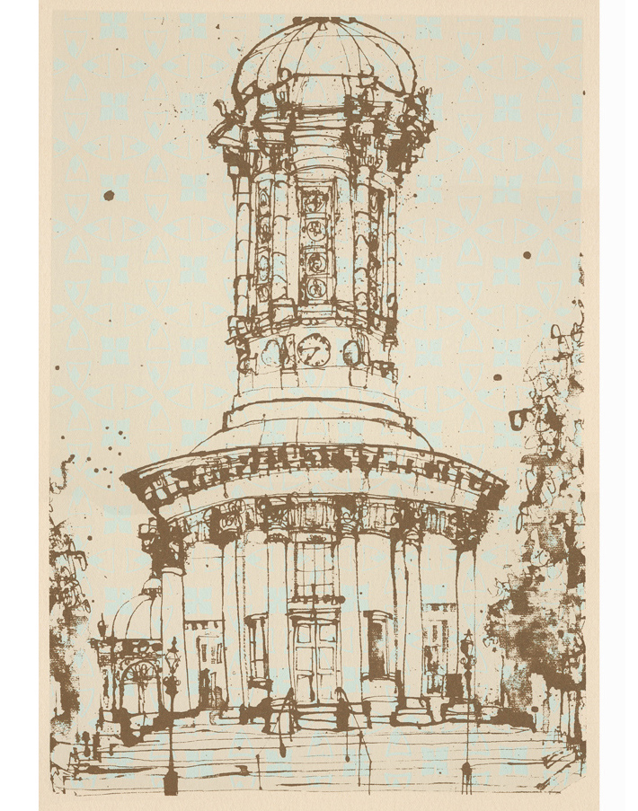 Saltaire United Reformed Church Sepia  Screenprint 21 x 31 cm Edition size 150  £75