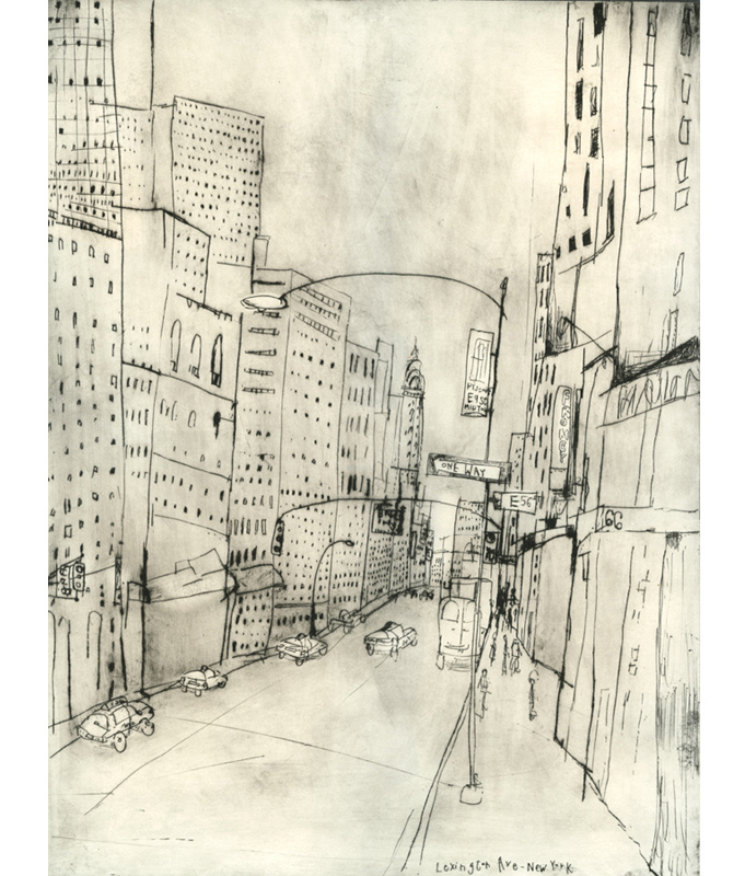 'Lexington Avenue NYC'         Drypoint   30 x 40 cm   Edition size 20