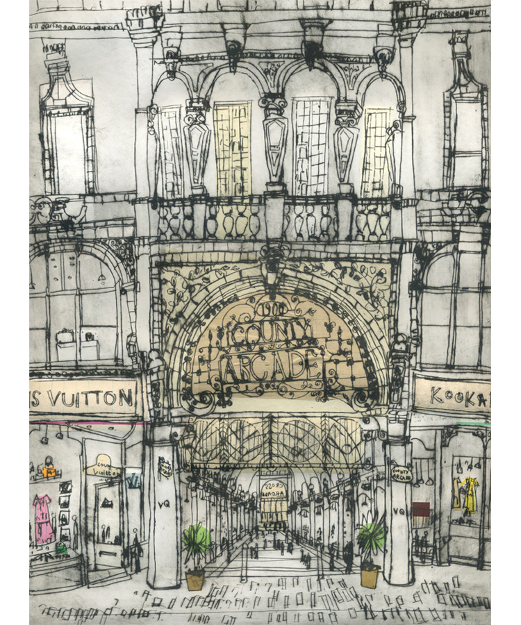 'County Arcade Leeds'             Drypoint & Chine-Colle       30 x 40 cm    Edition size 20
