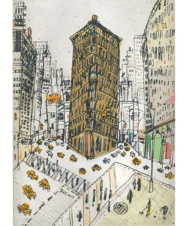 Flatiron Manhattan  Hand-coloured Drypoint & Chine-Colle 21 x 29 cm    Edition size 15