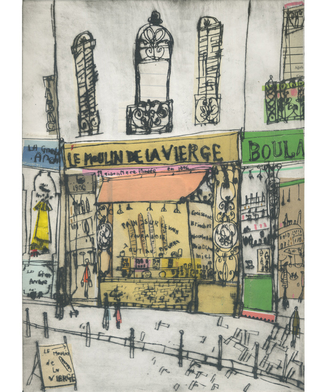 'La Moulin de Vierge Paris'       Hand-coloured Drypoint & Chine-Colle    21 x 29 cm    Edition size 15