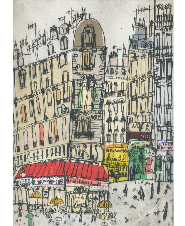 Boulevard St Germain Paris  Hand-coloured Drypoint & Chine-Colle 21 x 29 cm    Edition size 15