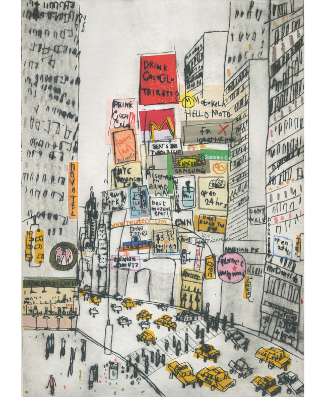 'Times Square Manhattan'       Hand-coloured Drypoint & Chine-Colle    21 x 29 cm    Edition size 15
