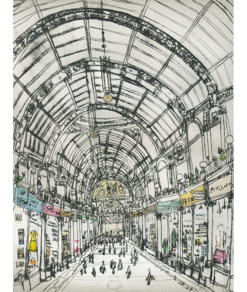 Shopping in County Arcade Leeds  Drypoint & Chine-Colle 30 x 40 cm    Edition size 20