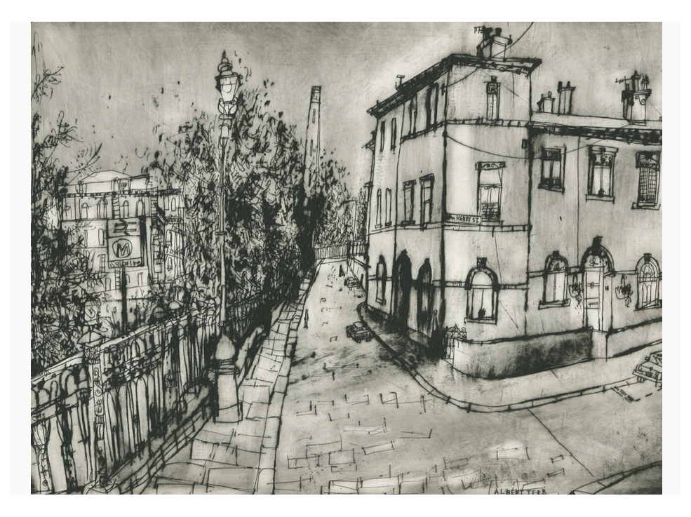 Albert Terrace Saltaire  Drypoint   30 x 40 cm Edition size 20