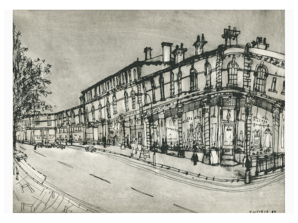 'Victoria Road Saltaire Village'                         Drypoint   30 x 40 cm   Edition size 20