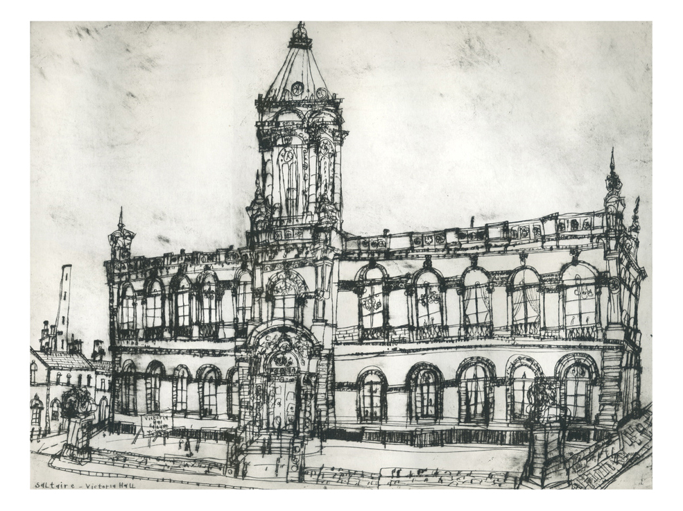 Victoria Hall Saltaire  Drypoint  40 x 30 cm Edition size 20