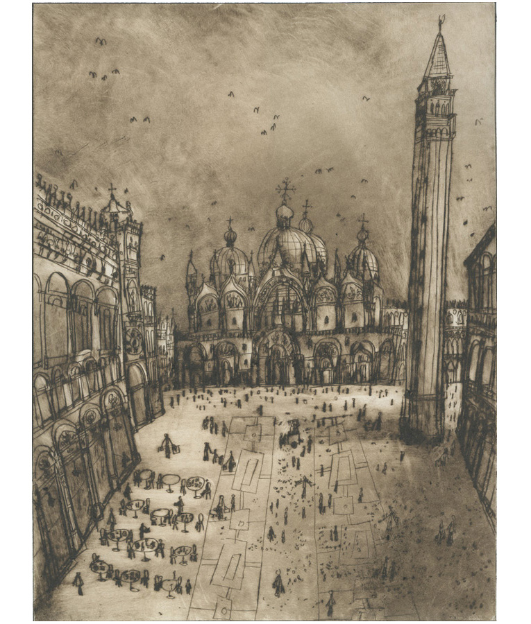 St. Mark's Square Venice  Drypoint  30 x 40 cm Edition size 20