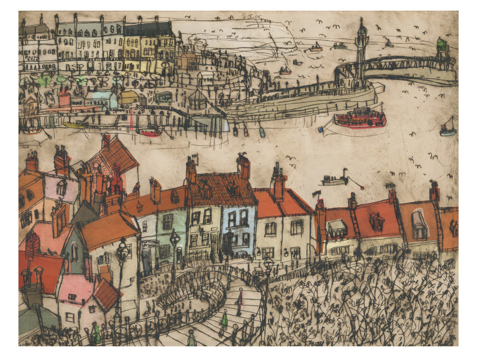 Whitby Rooftops  Drypoint & Chine-Colle 41 x 31 cm    Edition size 15