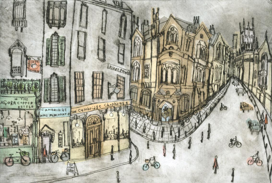 'Shops & Corpus Christi Clock, Cambridge'