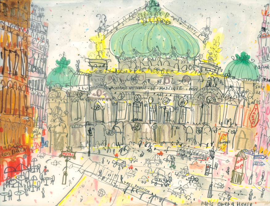'Opera Garnier Paris '         MIXED-MEDIA          Image size  25 x 19 cm        S O L D
