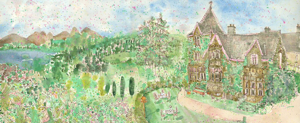 'Holbeck Ghyll Country House Hotel, Windermere'   w atercolour & pen