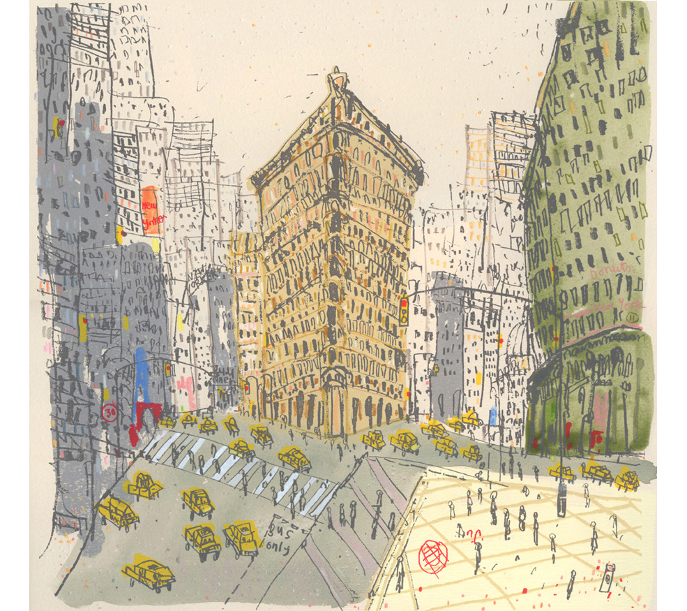 The Flatiron Building New York City  Handpainted watercolour, pencil &screenprint 36 x 36 cm  Edition size 100 £250