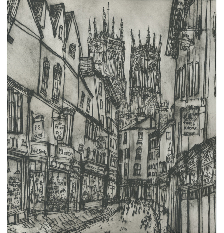 Petergate & York Minster  Drypoint    40.5 x 56.5 cm Edition size 20