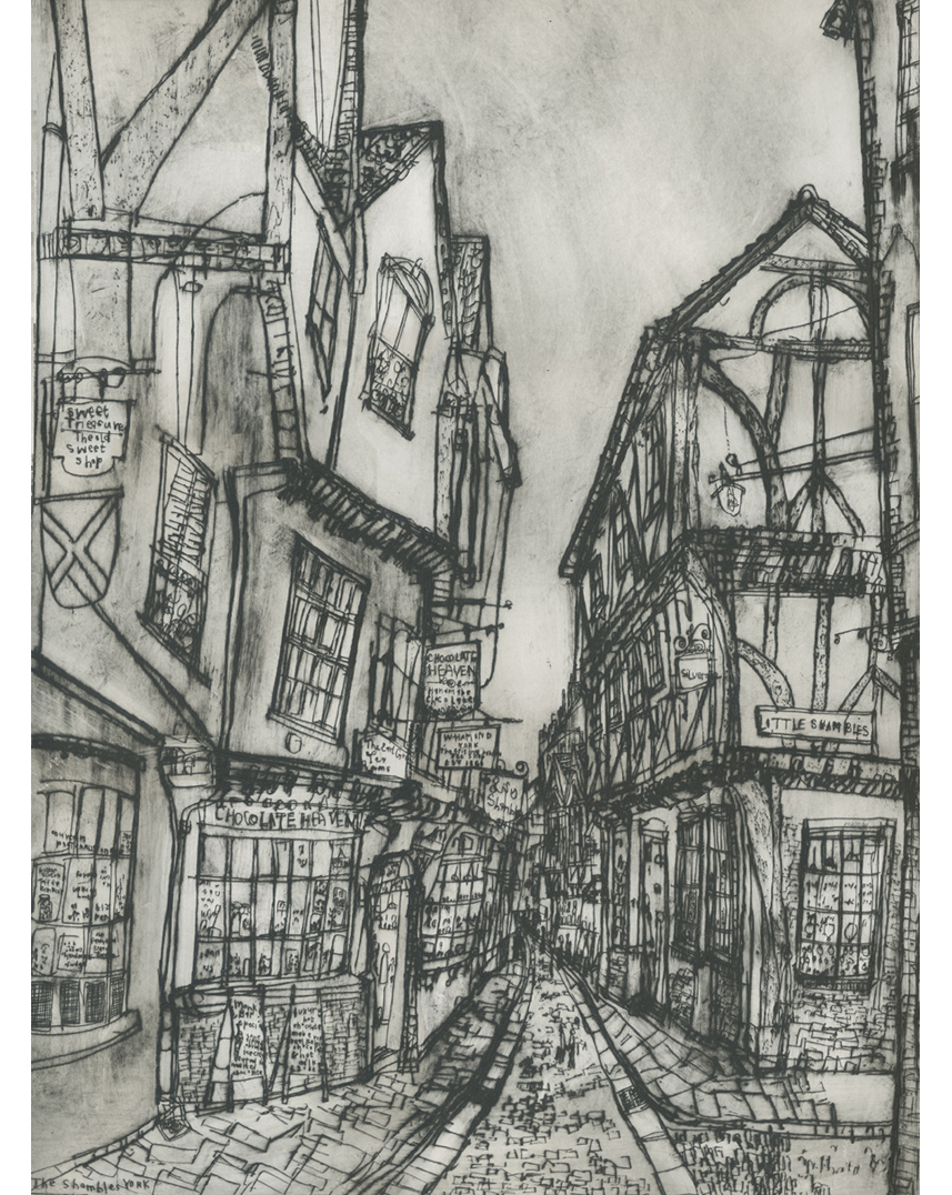 The Shambles York  Drypoint   40.5 x 56.5 cm Edition size 20