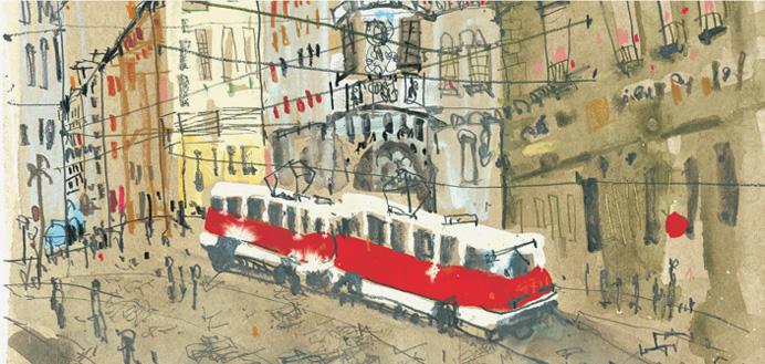 Red Tram in Prague