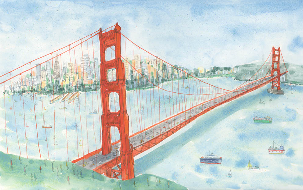 The Golden Gate Bridge San Francisco   watercolour & pencil Framed size 81 x 59 cm £595