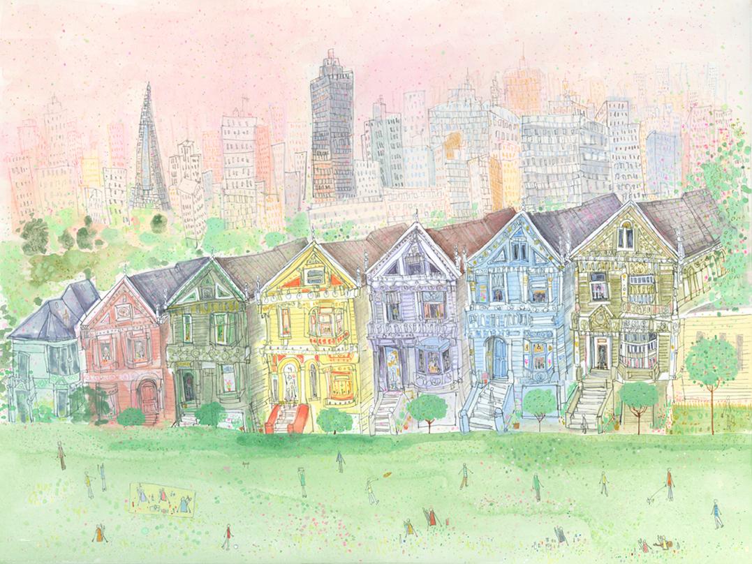 Alamo Square, San Francisco California   watercolour & pencil Framed size 70 x 57 cm £495