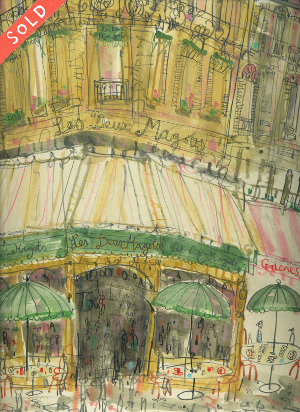 'Café des Deux Magots, Paris'            WATERCOLOUR & PENCIL           S O L D
