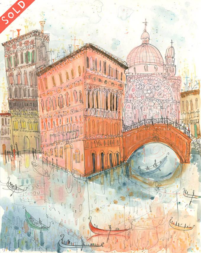 'Rio Dei Miracoli Venice'     WATERCOLOUR & PENCIL        Image size  29 x 37 cm      Framed size 46 x 54 cm      £395   framed in oak