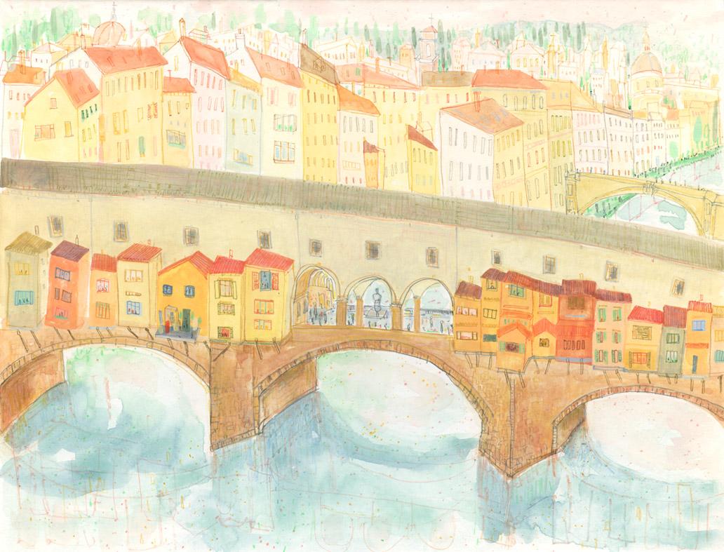 'Ponte Vecchio Florence'       WATERCOLOUR & PENCIL      Image size 38 x 29 cm     Framed size 57 x 48 cm    £395   framed in oak