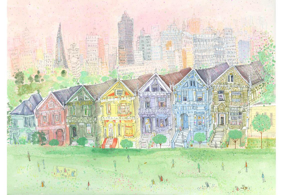 'Alamo Square, San Francisco'  Giclee print 50 x 37.5 cm Edition size 195 £165