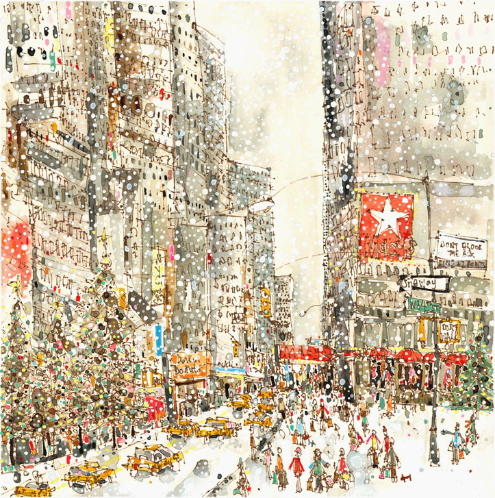 'Snow Falling on West 34th Street New York'