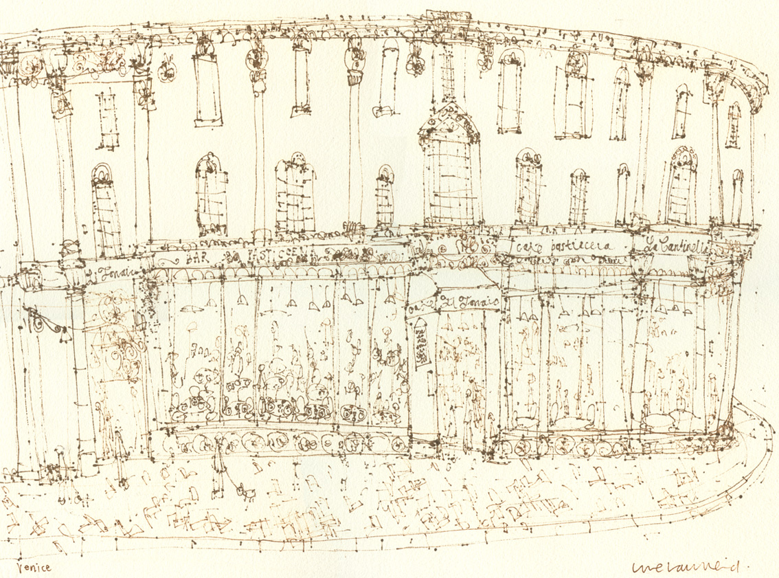 VENETIAN CAFE  -  brown pen drawing on cream paper  Image size 42 x 31cm    £110