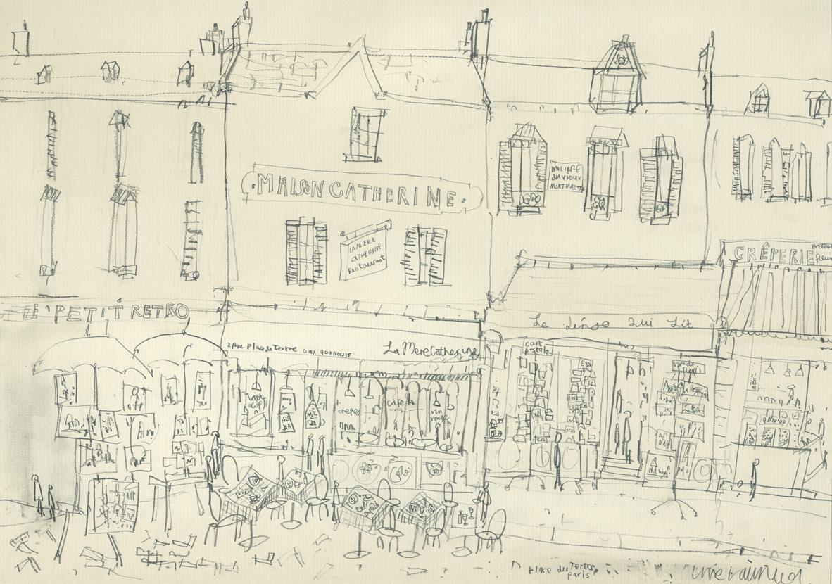 MAISON CATHERINE PARIS  -  pencil drawing on cream paper  Image size 42 x 29.5 cm mounted size 57 x 44.3 cm    £100