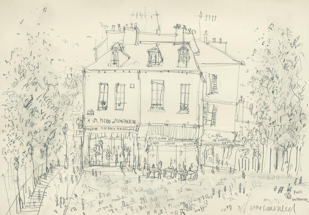 ST. PIERRE DE MONTMARTRE PARIS  -  pencil drawing on cream paper  Image size 42 x 29.5 cm mounted size 57 x 44.3 cm    £100