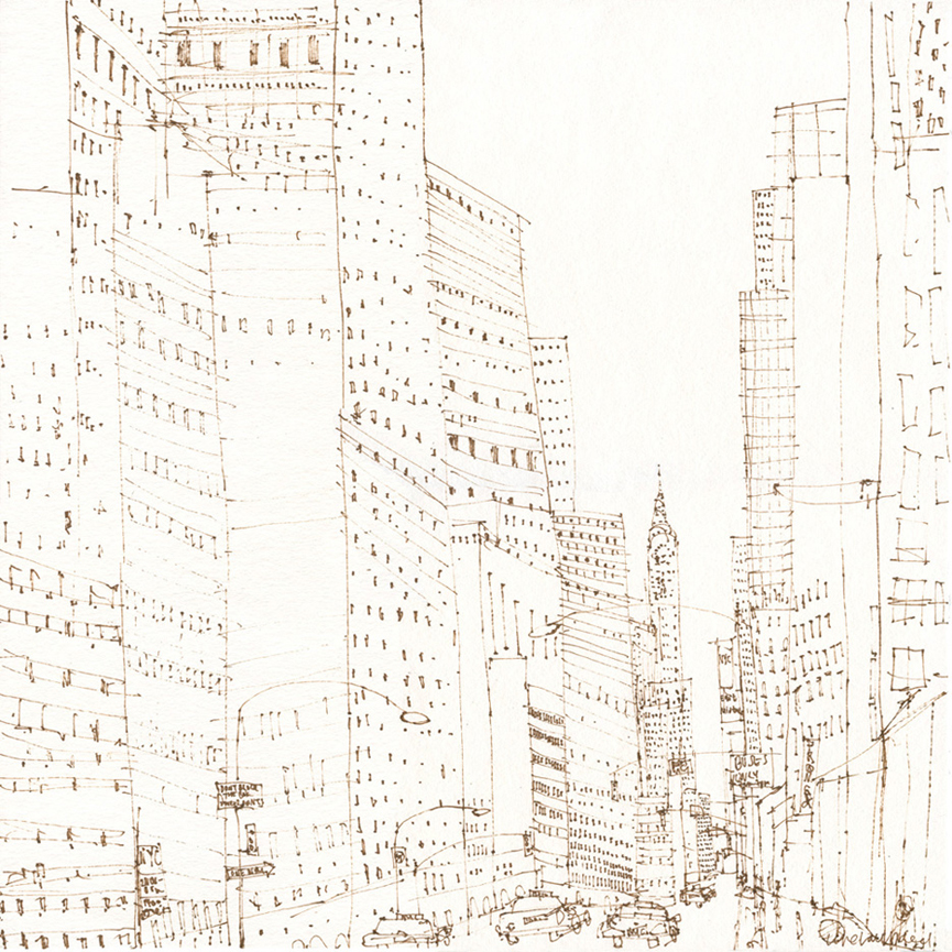 THE CHRYSLER BUILDING NEW YORK  -  brown pen drawing on white paper  Image size 40 x 40 cm     £150