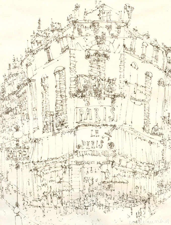 PARISIAN CAFE  -  brown pen drawing on cream paper  Image size 28 x 37cm  £175