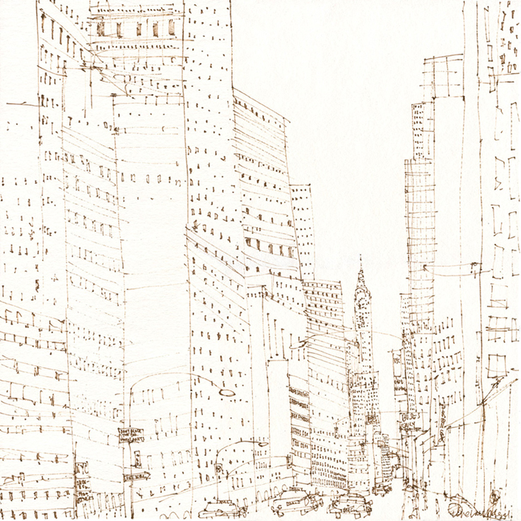 THE CHRYSLER BUILDING NEW YORK  - brown pen drawing on white paper Image size 40 x 40 cm  £150  (unmounted)