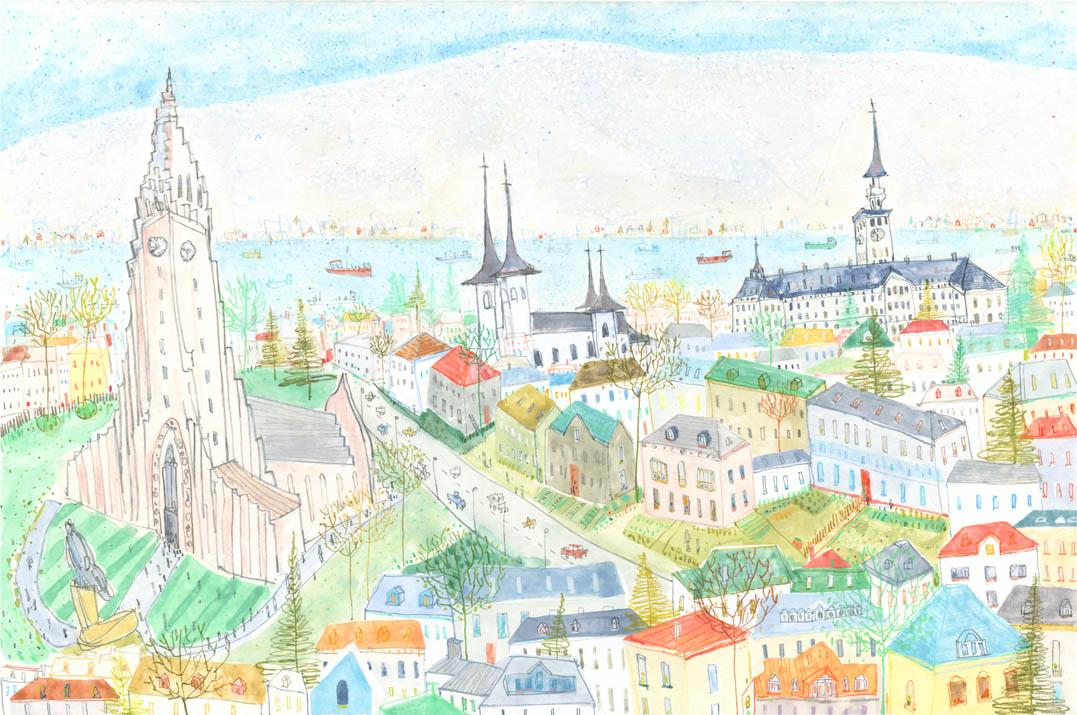 'Reykjavik'     WATERCOLOUR & PENCIL     Image size 44 x 29 cm     Framed size 62 x 47 cm    £450   framed in oak