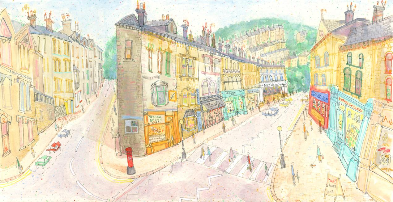 'Market Street & Hangingroyd Road, Hebden'     WATERCOLOUR & PENCIL   Image size 45 x 23 cm Framed size 63 x 41 cm    S O L D
