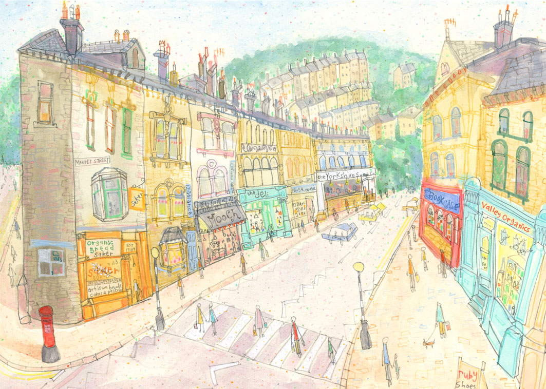 'Market Street & Hangingroyd Road, Hebden Bridge'    DETAIL FROM PREVIOUS PAINTING    S O L D