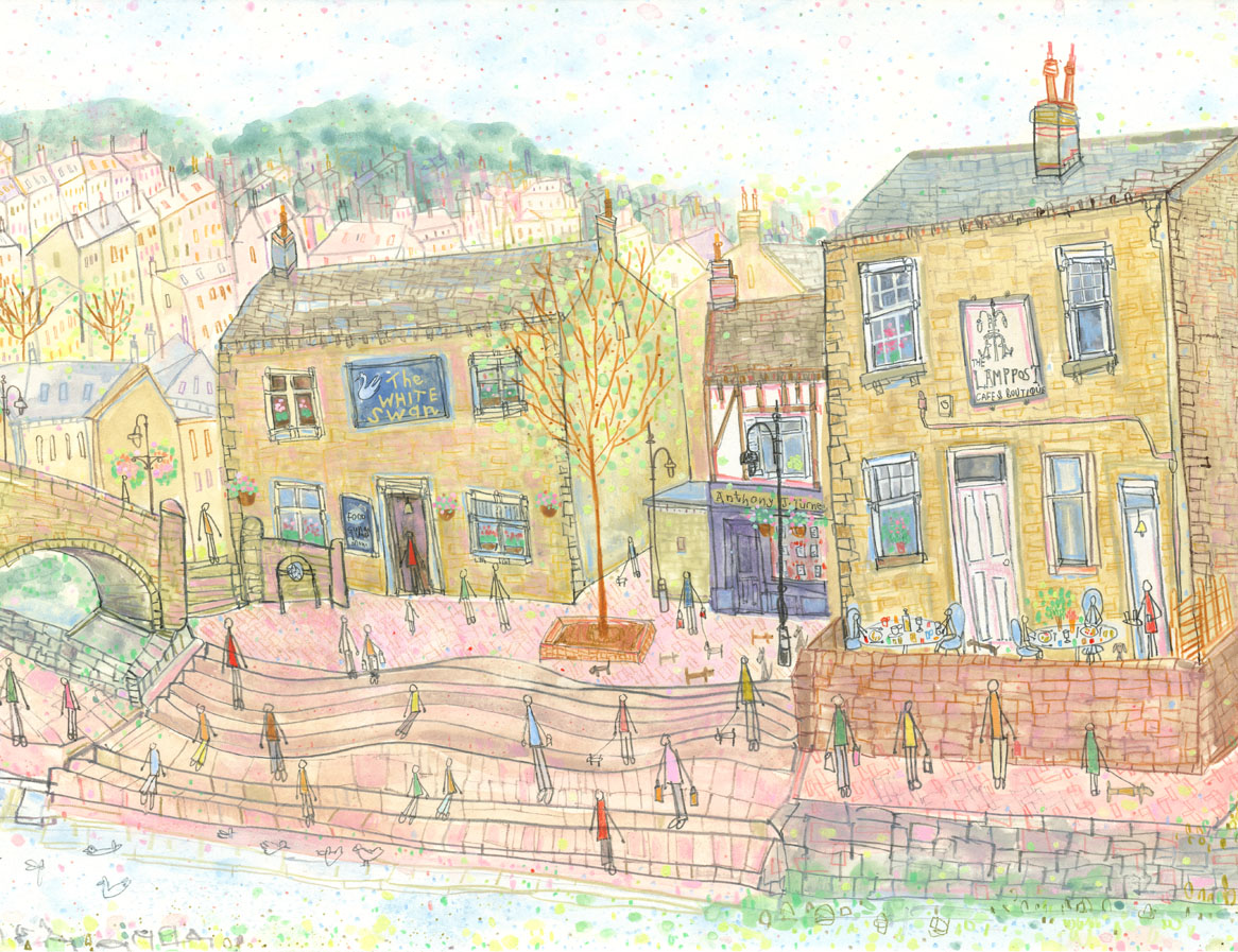 'View from Old Gate Hebden Bridge'    DETAIL FROM PREVIOUS PAINTING      * SOLD *