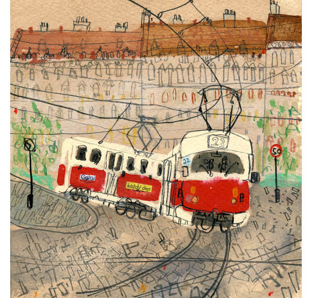'Tram Number 22 Prague'  Giclee print Image size 30 x 31 cm Edition size 195   £145