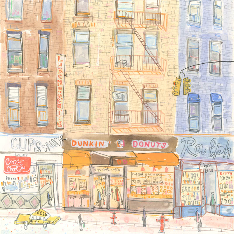 Dunkin Donuts New York      watercolour & pencil      Framed size 38 x 38 cm   Image size 21.5 x 21.5 cm     £275