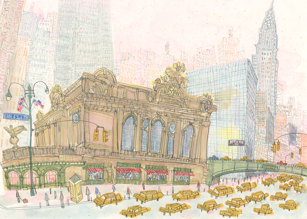 Grand Central Station, East 42nd Street New York      watercolour & pencil      Framed size  58.5 x 46.5 cm     Image size 42.5 x 30.5 cm     £575