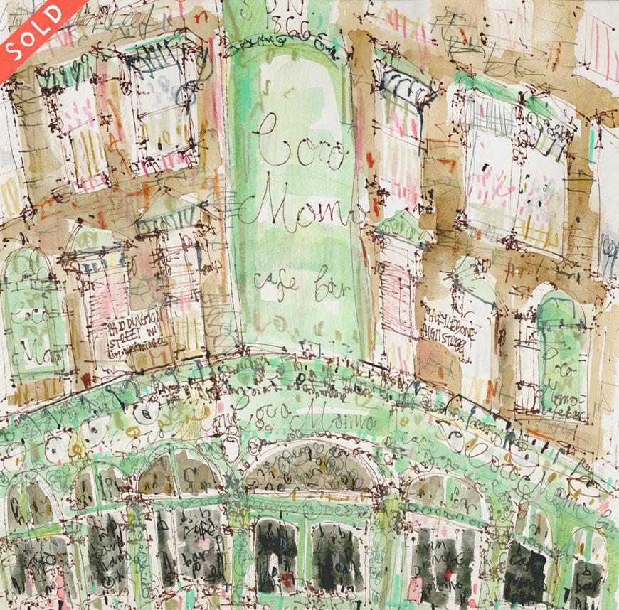 'Coco Momo Café Bar Marylebone London'       PEN, WATERCOLOUR & PENCIL      Image size 29 x 29 cm