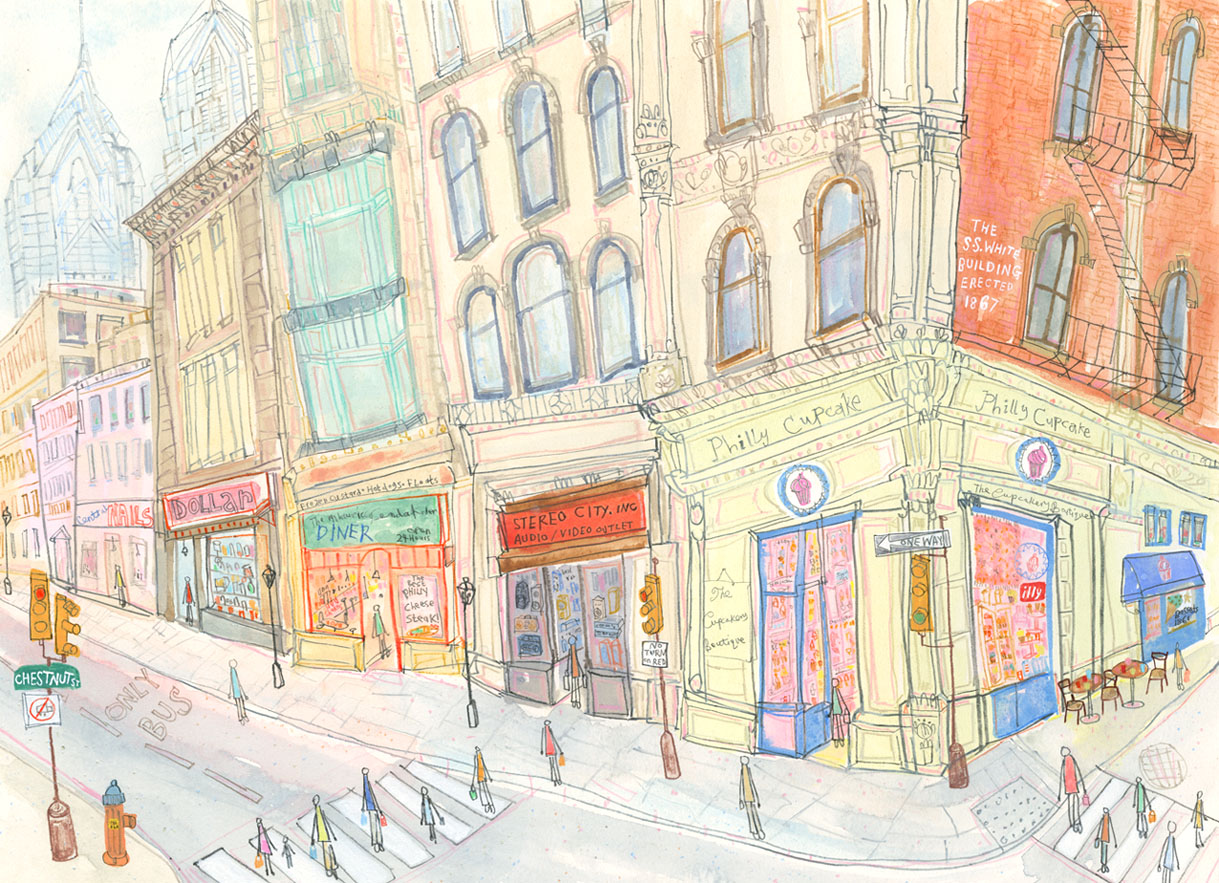 'Philly Cupcake Chestnut Street Philadelphia'                 watercolour & pencil             Framed size 63.5 x 50 cm             Image size 47 x 34             £575