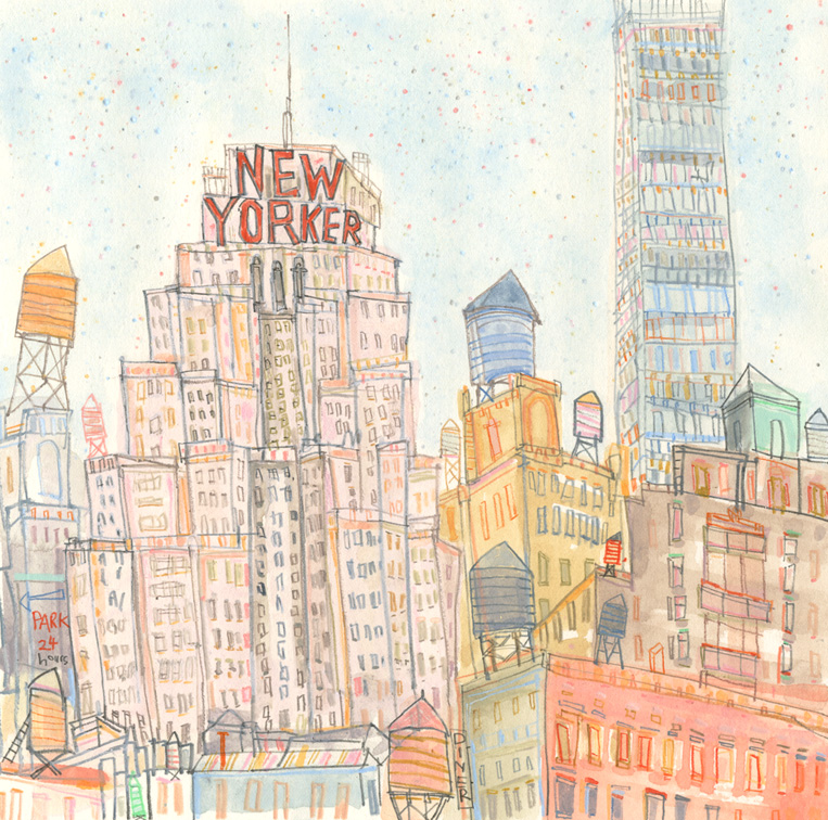 The New Yorker      watercolour & pencil   Framed size 38 x 38 cm    Image size 21.5 x 21.5 cm