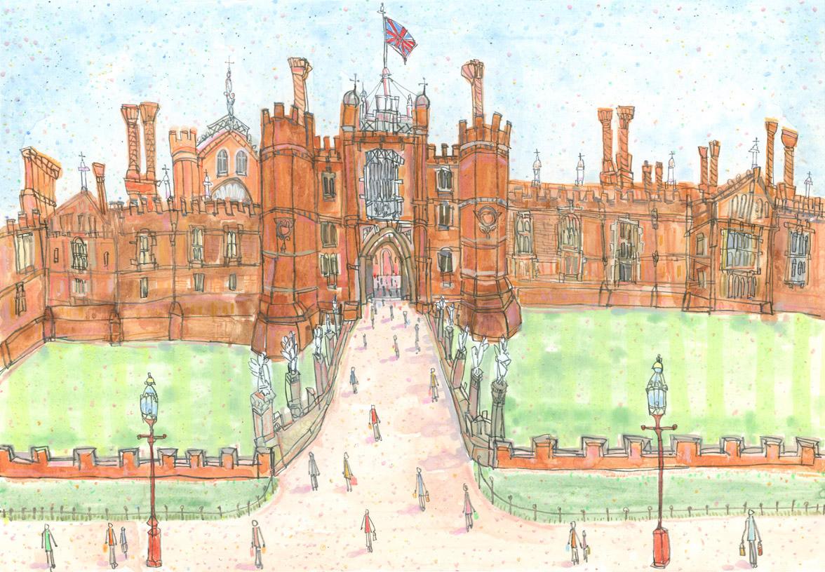'Hampton Court Palace'      WATERCOLOUR & PENCIL      Image size 38 x 26 cm     £495